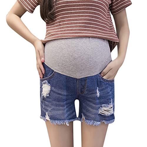 WNuanjun, Hillsionly Blau Einfarbig Bauch Shorts Mutterschaft Hosen Für Schwangere Kleidung Kurze Hosen Pflege Prop Bauch Pantalones Cortos Maternidad (Color : Blue, Size : M) -