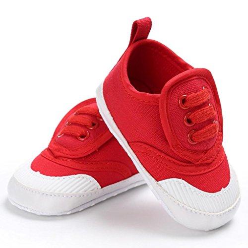 Pour 0-18 mois Bébé,Transer ® Lit de bébé garçon filles chaussures souples semelle anti-dérapant Sneakers Rouge