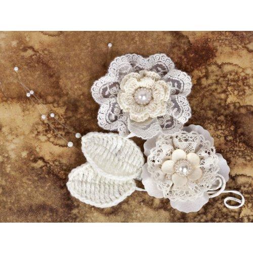 Prima Marketing Chantelle Gesichtspeeling, Stoff und Papier Blüten, Deckchen mit Perlen, 6,35 cm (2,5 Zoll), 2 Stück