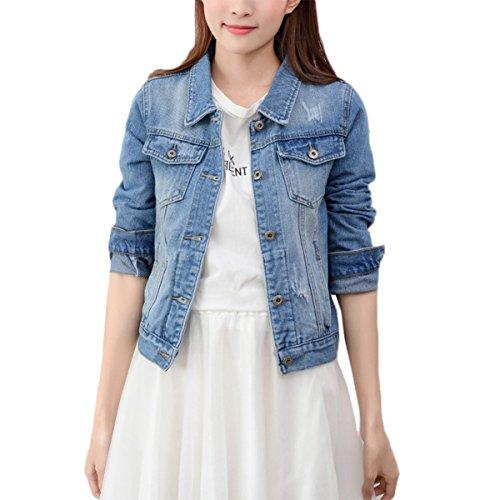 Mode Beiläufig Damen Mantel Jacke Denim jacket Trench Parka Jacken Einfarbig Lange Ärmel Jeans-Jacke mit Patches (S, HellBlau)
