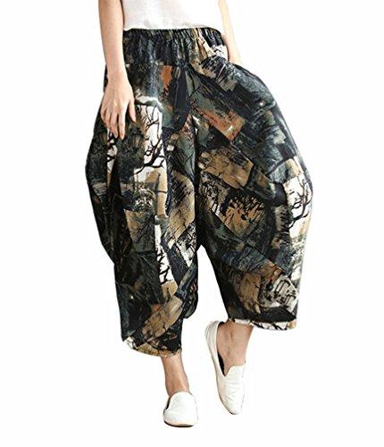 LvRaoo Damen Elastische Taille Pumphose Haremshose Blumen Hippie Boho Strandhosen Freizeithose Baggy Capri Hose Trousers (Dunkelgrün, One Size) Jersey Wide Leg Cropped Pants
