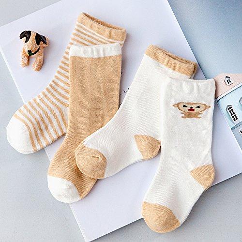 tube Baby Socken Baby langer Zylinder aus reiner Baumwolle Socken, Khaki Affe, S Code für 0-6 Monate 5 Paaren. (Neugeborene Jungen Tube-socken)