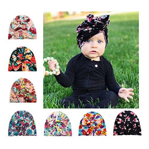 CHSEEA 7 Stücke Baby Mütze Elastische Stretch Turban Kleinkind Stirnbänder Super Weich Baby Jungen Mädchen Knoten Stirnband - Perfektes Geschenk zur Babyparty, Geburt, Taufe & Weihnachten #5
