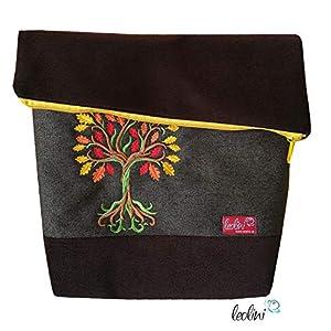 Foldover Tasche Lebensbaum Stickerei handmade Foldovertasche mit Außenfach
