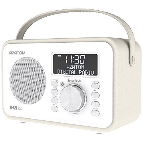 Spitalfields Retro DAB/DAB+ Digital FM Portable Radio/Alarm Clock/Leather Effect Finish/Mains Powered/Rechargable Battery/Subwoofer/Premium Stereo Sound (White)