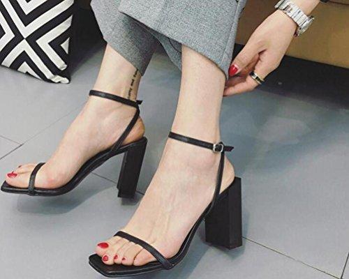 OL PU cinturino alla caviglia aperto zehe Chunky High Heel facile Match Moda Donna Casual Matrimonio Sandali EU Taglia 34–38 Black