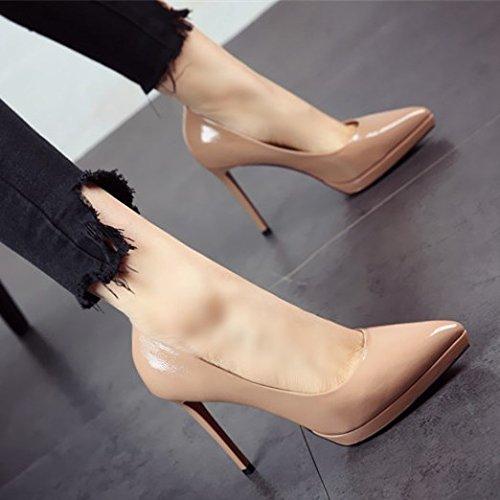 Flyrcx in stile europeo tacchi alti lady con un bel brevetto nero scarpe di cuoio asakuchi scarpe sexy,38,b