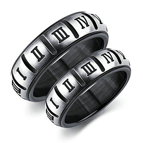 Aooaz 2 Stück Ringe Eheringe Verlobungsringe Freundschaftsringe Schwarz Römische Ziffern Ringe Gratis Gravur Damen 57 (18.1) & Herren 54 (17.2) (Titanum Verlobungsring)