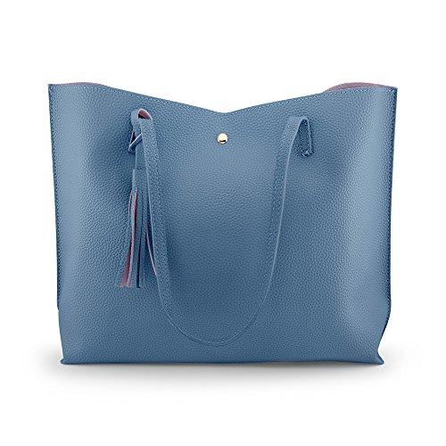 OCT17 Damen Einkaufstasche - Quasten Kunstleder Schulter handtaschen, modehandtaschen Satchel Messenger Bags einheitsgröße grau (Kalk Für Erwachsene Kostüm)