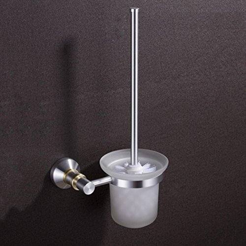 GY&H Salle de bains WC brosse ensemble espace aluminium porte-balais de toilettes, mur monté WC porte-brosses