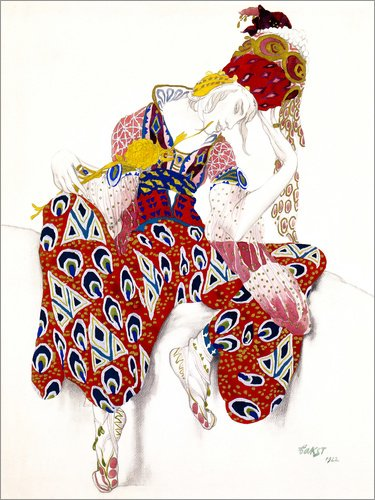 Ballett Bilder Kostüm - Posterlounge Leinwandbild 120 x 160 cm: Kostüm für Nijinsky, Ballett LA PERI von Leon Nikolajewitsch Bakst - fertiges Wandbild, Bild auf Keilrahmen, Fertigbild auf echter Leinwand, Leinwanddruck