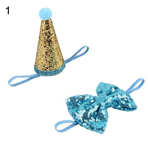 strimusimak Dog Grooming Sequin Crown Elastic Headband Hair Accessories Bow Tie Pet Supplies-Blue Sequin Bow Headband