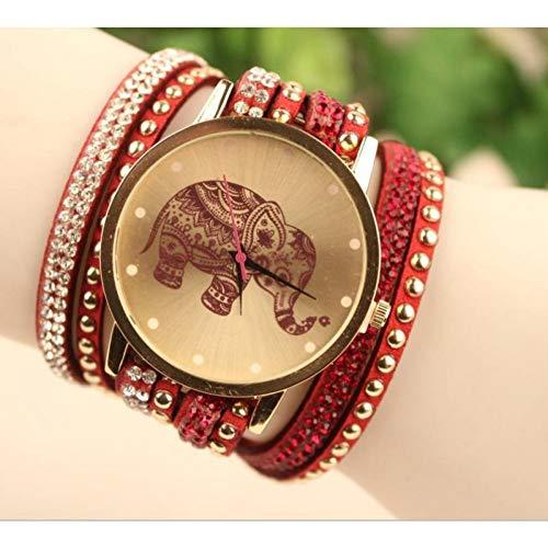 FDIJM Art- Und Weisefrauen-Armbanduhr-Damenuhr-Elefant-Muster-Runde Fall-Uhr, Rot