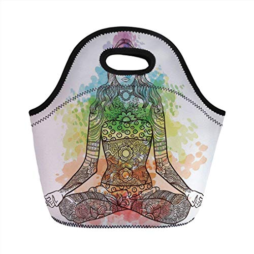 Portable Bento Lunch Bag,Yoga,Tattoo Mehndi Style Vintage Ornate Woman Figure in Lotus Pose Chakra Aura Watercolor Decorative,Multicolor,for Kids Adult Thermal Insulated Tote Bags (Tasche Tattoo Duffle)