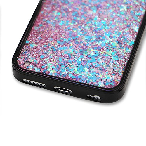 SKYXD Antiurto Morbido Silicone Gel TPU Custodia per iPhone 6 6S Plus 5.5,Cover 3D Creativo Disegni Lusso Bling Glitter Clessidra Liquido Sabbie Stella Nero Opaca Coperture Protettive Back Case per i Colore 05