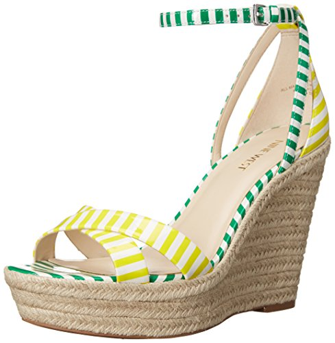 Nine West Joker Synthetic Keilsandale White/Yellow/White/Green