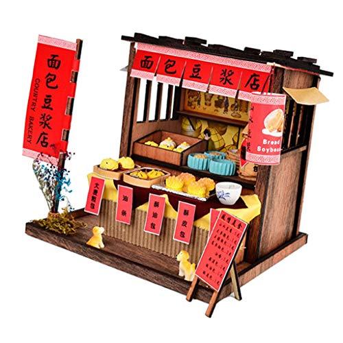 Toygogo 1/24 DIY Puppenhaus Miniatur Kit W/Möbel, Leichte Archaische Snack Shop Geschenk - Bäckerei Shop