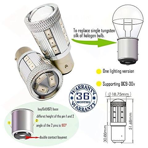 Wiseshine ampoule bay15d 1157 chaud canbus led bulbe DC9-30v 3 ans d'assurance qualité (pack de 2) (bay15d 21smd 5630 blanc)
