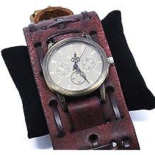 snowsun-brown Dermis reloj Vintage estilo de gótico de hip-hop Punk reloj de cuero reloj de pulsera reloj de pulsera