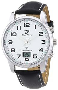 Time Piece Herren-Armbanduhr Funk Lederband Quarz TPGA-10237-12L