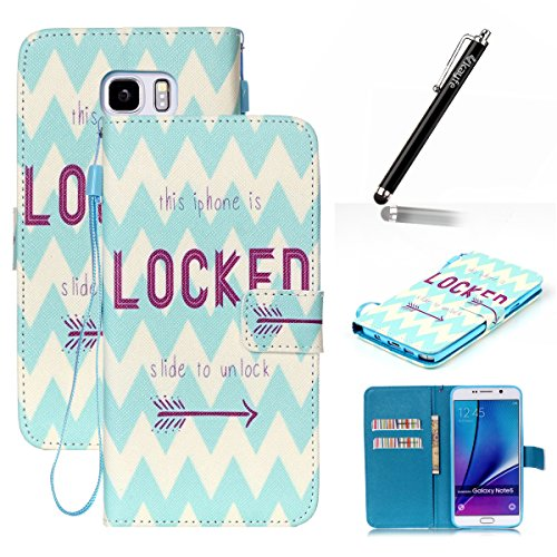 Copertura per Samsung Galaxy Note 5 in pelle, Samsung Galaxy Note 5 Custodia Portafoglio, Note 5 Case Cover, Ukayfe blue Wave-this iphone is locked Design dellunità di elaborazione di vibrazione del blue Wave-this iphone is locked