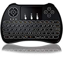 Mini teclado, tripsky P9–Mando a distancia inalámbrico Mini teclado, Kodi portátil con touchpad Ratón para Android TV Box, Windows PC, Pad, Raspberry Pi, HTPC, IPTV, Xbox 360, PS3, PS4(negro)