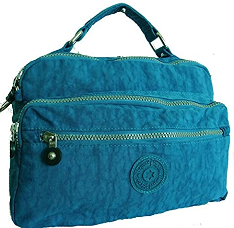 Gossip Girl - Nylon / Fabric Multi Multiple Zip Pockets Shoulder / Messenger / Top Handle Tote Bag (Blue 1)