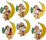 Wendt & Kühn Christbaumengel im Mond 6 Figuren sortiert Größe 4