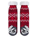 Goodstoworld Flauschige Kuschelsocken Damen Rot Faultier Weiche Warme Bett Winter Socken mit Bunt Weihnachten Elf Tier Motiv Gestrickt ABS Sohle Teddyfell OneSize