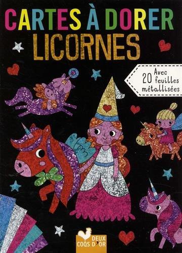 Cartes à dorer - Licornes