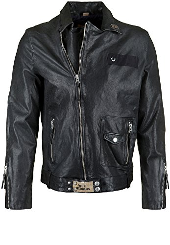TRUE RELIGION Herren Lederjacke LEATHER BIKER PATCHES