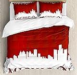 ABAKUHAUS Detroit Bettbezug Set Doppelbett, Michigan Stadt Briefe, Kuscheligform Top Qualität 3 Teiligen Bettbezug mit 2 Kissenbezüge, Weiß und Rot