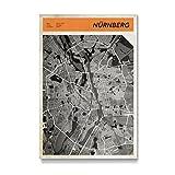 artboxONE Galerie-Print 150x100 cm Stadtkarte Nürnberg hochwertiges Acrylglas auf Alu-Dibond Bild