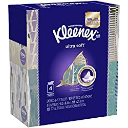 """KLEENEX Ultra Soft Facial Tissue, 3-Ply, White, 8.2""""X 8.4"""" , 75/Box, 4 Box/Pack - Packaging May Vary(Assorted color and style boxes)"""