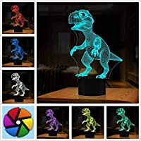 3D Illusion Lamp,Dinosaur Gifts Toys Decor LED Night Light Lamp 7 Colors Touch Control USB Powered Party Decoration Lamp,3D Visual Lamp for Home Décor Xmas Birthday Gifts