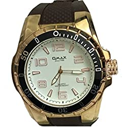 Omax Mens Wrist Watch Brown Silicone Strap Gold and White Dial
