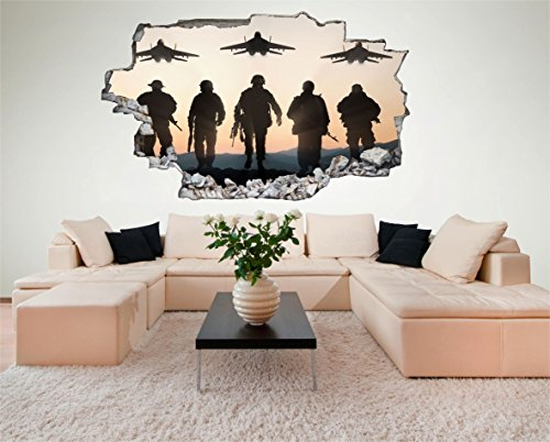 Preisvergleich Produktbild Soldat Kampfjet Jet Soldier Armee Army Militär 3D Look Wandtattoo 70 x 115 cm Wand Durchbruch Wandbild Sticker Aufkleber DesFoli © C213