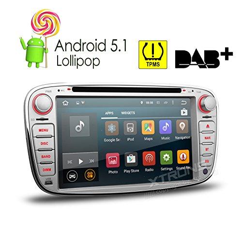 XTRONS® Plata 7'Android 5.1Lollipop Quad Core HD pantalla táctil Radio estéreo de coche reproductor de DVD con GPS navegador Bluetooth pantalla Mirroring función OBD2para Ford Focus