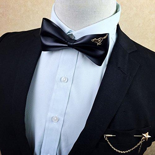 Wolegequ para Caballeros en el Día del Padre, Día de San Valentín, Día de Acción de Gracias, Navidad/Corbata para Hombre, Novio de Boda, Blusa, leisura Negra, Lazo de Cuero, G