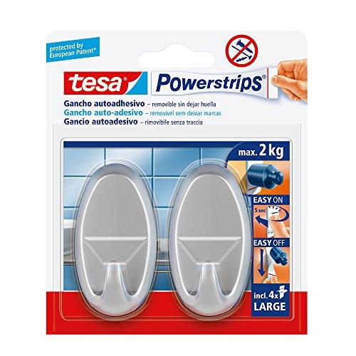 Tesa 58063-00001-01 selbstklebender Haken, oval, verchromt, undurchsichtig, mit 4 Klebestreifen, 2 Stück -