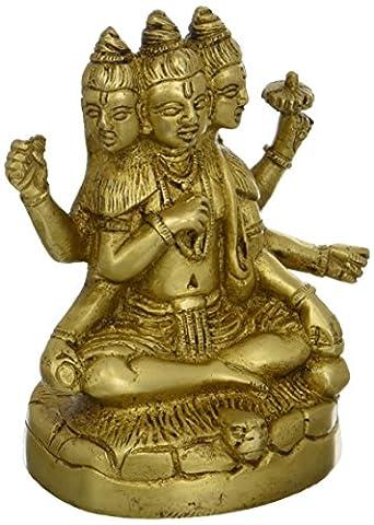 Statue Brahma Vishnu Shiva Sculpture Art Hindu; Brass; 3 x 2.5 x 4.5 (Religioso Giardino Statua)