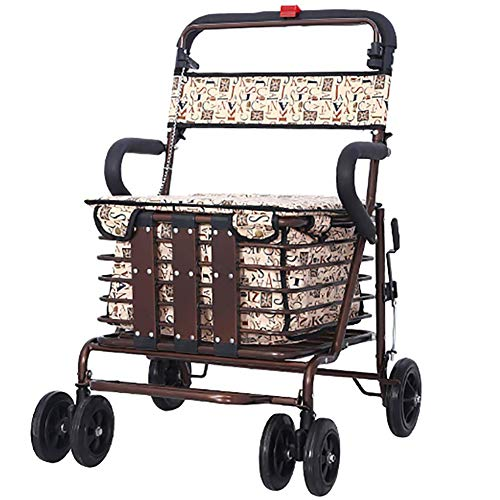 KOSHSH Rollator Mit HöHenverstellbarem Sitz, Leichter Zusammenklappbarer 4-Rollen-Transportstuhl Von Aluminium Rollators Feststellbarer RüCkenlehne Und Gehhilfe, Bronze