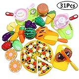iBaseToy 31 PCS Kinder Küchenspielzeug, Schneiden Spielzeug Lebensmittel Küche Rollenspiele pädagogisches Spielzeug Geburtstagsgeschenk für Kinder, Schneiden von Obst, Gemüse, Pizza usw