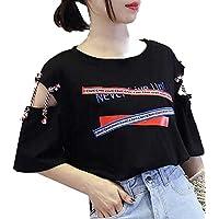 Damen Mode Kurzarm T-Shirt Mädchen Brief Drucken Streetwear Sexy Hohl Out Sommertops mit Bandage Tee Bluse Hemdshirt