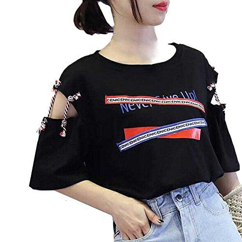 TWIFER Sommer Damen Kurzarm T Shirt Weste Logo Gedruckt Bandage Tank Top Bluse -