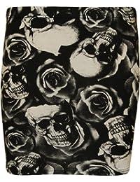 WearAll - Mujeres Stretch Bodycon Elásticos Imprimir corta Jersey Minifalda