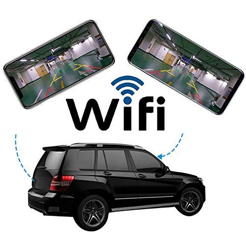 QMKJ Drahtlose Auto Cam vorne und hinten Nummernschild Rahmen Wi-Fi Link Versteckte Backup-Weitwinkelobjektiv Rückfahrkamera Android IOS