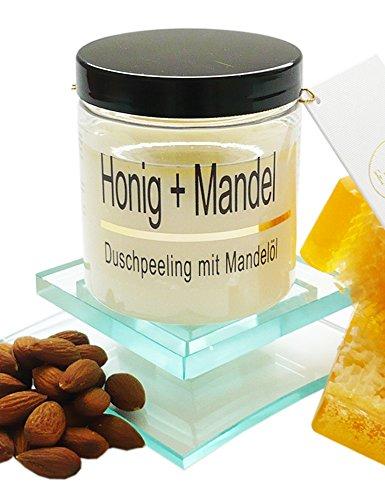 Körperpeeling Salz Honig - Mandel Body Scrub mit Mandelöl, 320 g