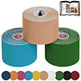 ALPIDEX Cinta Kinesiología Tape 5 m x 5 cm Cinta Muscular E- Book Ejemplos Aplicación, Color:colores surtido, Cantidad:3 rollos