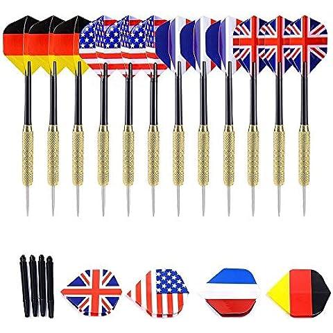 12 Confezione [4-Set] freccette in acciaio inossidabile con Punti Duri ad Ago 4 Squadre Nazionali (Francia, UK, Germania, USA) [Grip di rame e PVC]